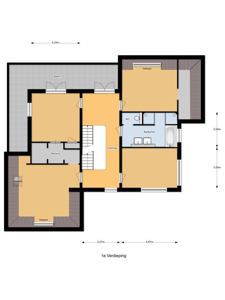 Plattegrond eerste verdieping | Boomgaard 16 | Kampen