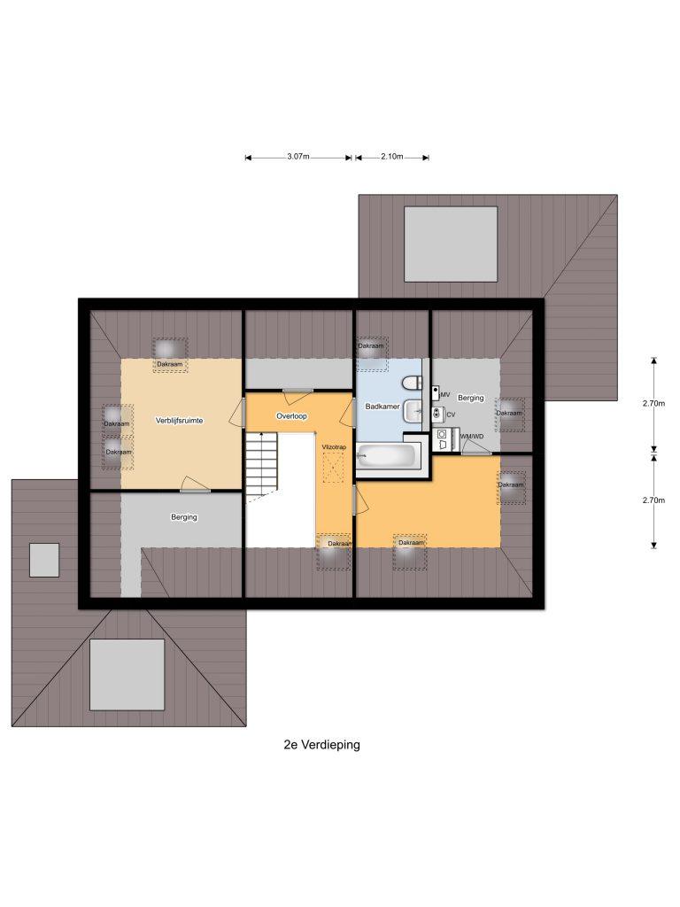 Plattegrond tweede verdieping | Boomgaard 16 | Kampen